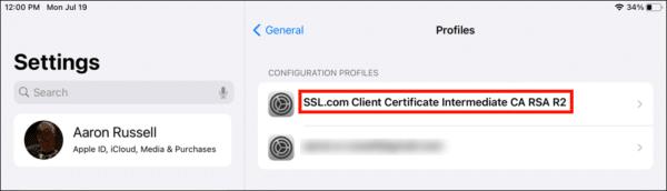 Intermediate certificate installed